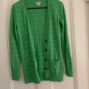 Green and gray striped cardigan